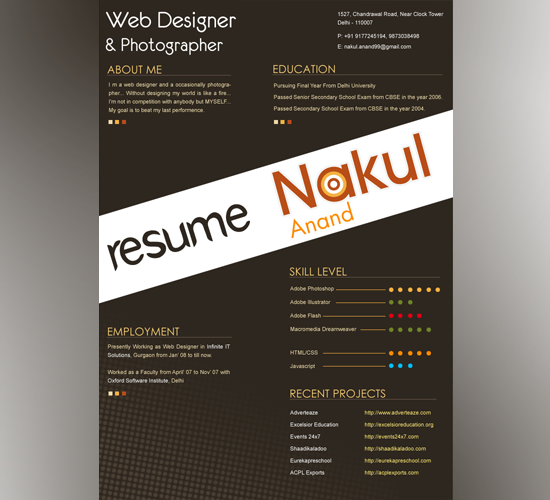 Resume DEsign by Nakul Anand