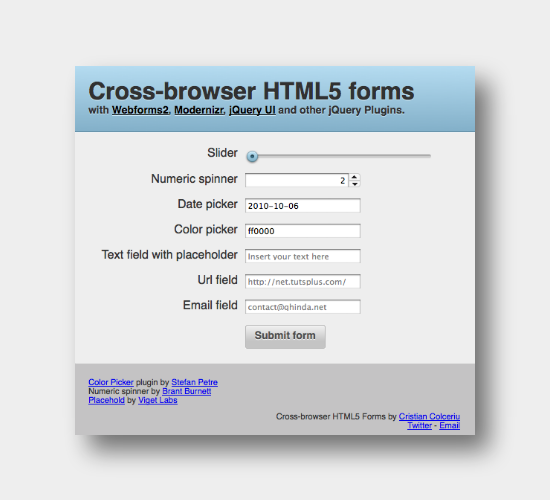 Cross Browser HTML5 Form