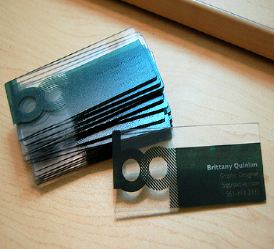 40 creative translucent business cards yvelle design eye for Screen printed business cards